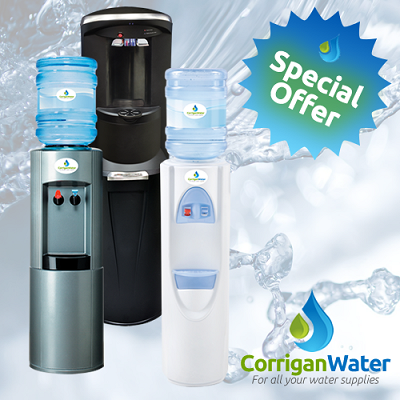 3 water bottled water coolers on a watery background with Corrigan Water logo